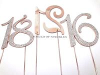 12cm Rose Gold Diamante Cake Pick Topper Number Birthday Anniversary Party Decor