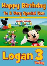 MICKEY MOUSE CLUBHOUSE PERSONALISED BIRTHDAY CARD - ANY NAME AGE RELATION