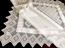 More details for beautiful vintage hand crochet white linen lace table cloth 46x46  inches