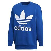 Adidas Originaux Surdimensionné Trèfle Sweat Bleu Ras Cou Pull Chaud Confortable