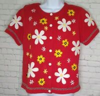 Susan Bristol Vintage Cardigan Sweater Womens Size PL Floral Short Sleeve Red