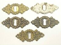 Lot of 5 Vintage Brass Skeleton KeyHole Cover Escutcheon Salvage Hardware 2 1/2""