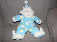 TEDDY BEAR STUFFED PLUSH CLOTH BLUE STAR MOON CLOUD PAJAMAS HAT CAP WHITE YELLOW