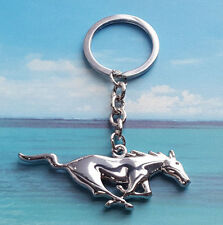 Metal Chrome Running Horse Emblem KeyChain Key For Ford Mustang GT 1986-2017