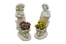 """Blumentopf Figur Garten Gartenfigur /""""Mädchen auf Fahrrad als Pflanzentopf/"""""""