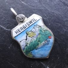 vintage SILVER enamel HERGISWELL tourist travel charm 1950s / 60s -A354