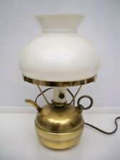 VINTAGE BRASS TEAPOT LAMP WITH WHITE SHADE