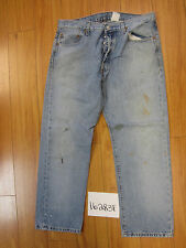 used Levis 501 destroyed feathered grunge jean tag 36x29 meas 35x29 16283F