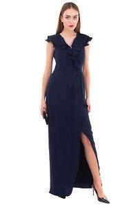 RRP €595 ML MONIQUE LHUILLIER Evening Dress Size 6 / M Ruffle Trim Draped V Neck