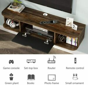 Tribesigns Rustic Wall Mounted Media Console with Door -Vintage Brown Brand New