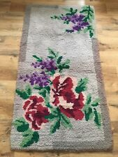 Beautiful Vintage Large Grey Peg Rug. Floral Pretty English Rose. Shabby Chic.