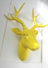Large funky yellow stag / deer head - wall mounted approx W:350mm H:430mm