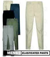 New Mens Rugby Trousers Pants Slacks Elastic Waist Work Casual Pockets Big Plus