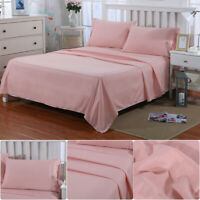 4 Pieces Bed Sheet Set Extra Deep Fitted Sheet Pillowcase Microfiber Queen Size