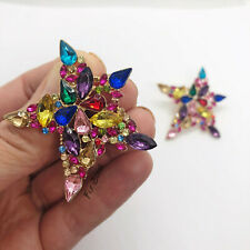 Large Statement Rainbow Star Rhinestone Stud Earrings Towie Blogger UK Diamante