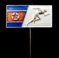 Vintage Old  North Korea Athletics Federation Pin Badge