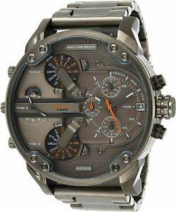 DIESEL Mens Grey Watch DZ7315 BIG MR. DADDY 2.0 CHRONOGRAPH Gunmetal BNIB