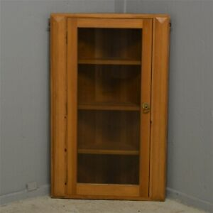 Solid Pine Wooden Corner Cabinet Wall Mounted Glass Door Delivery available