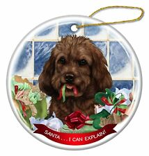 Chocolate Cockapoo Dog Porcelain Ornament Pet Gift 'Santa. I Can Explain!