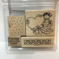 Stampin Up Friendship Warms The Heart Rubber Stamp Set of 4 Rag Doll Buttons WM