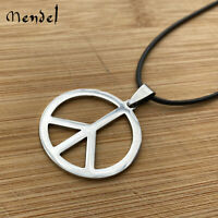 MENDEL Unisex Light Stainless Steel Peace Sign Pendant Necklace Jewelry Rope Men