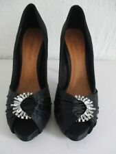 MODA IN PELLE Black Satin Diamante Jewelled Peep Toe Party Shoes Size 5 38 used