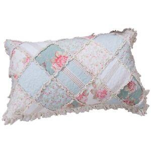 DaDa Bedding Hint of Mint Pastel Cottage Floral Cotton Patchwork Pillow Sham 1PC
