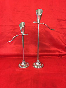 Pair of Calla Lily-shaped Pewter Candlesticks
