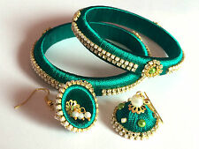 Silk Thread Bangles (Set of 2) with Earrings - Green
