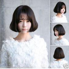 Fashion Casual Wig Short Air Bang Hair Cosplay Wig Korean Black Synthetic Wig