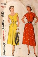 Vintage 1950s Sewing Pattern Simplicity #3253 Scallop Dress Size 14 Bust 32