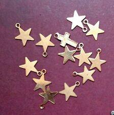 VINTAGE GOLDEN BRACELET TWELVE STARS & CROSS CHARMS  Q53
