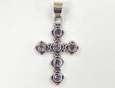 Estate 925 Sterling Silver & Genuine Amethyst Cross Pendant, Antiqued, Christian