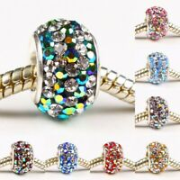 Sparkle Mixed Czech Crystal 925 Silver Charms Beads Fit European Chain Bracelet