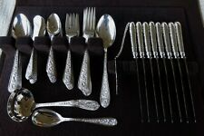 "Kirk-Stieff ""Corsage"" Sterling Silver Flatware Set Service for 8 +Serving Pieces"