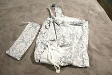 NURSING COVER Grey White Fleur Pattern Breastfeeding Cotton w/ Carry Case NEW