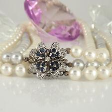 Dreireihiges Collier 167 Akoya Zuchtperlen Perlenschließe in 585 Weißgold 14K