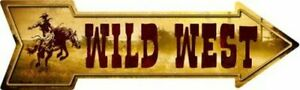 """Wild West Directional Metal Arrow Sign 17"""" x 5"""" ↔ Country Western Wall Decor"""