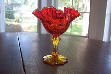 Vintage Fenton Amberina Cabbage Rose Compote