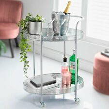 Silver Metal Shaped Mini Bar Trolley With Mirror Table Drink Table Furniture