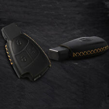 BLACK Leather Remote Key Fob Case Holder Cover Case For Mercedes-Benz 3 Buttons