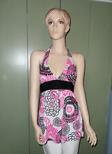Halter Top COLOR ME RED Brand Women's Size M Pink White Black Lined at Breast