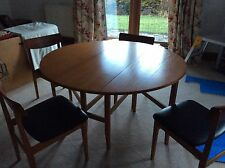 Drop Leaf Teak Table 4 ft x 4 Chairs Black PVC seat pads tidy condition Vintage
