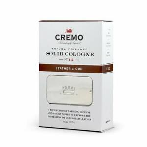 Cremo Travel Friendly Solid Cologne, No 12 Leather and Oud, 0.45 oz