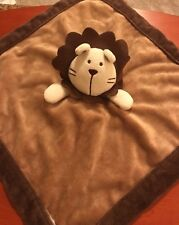 Belle Brown Tan Lion Lovey Blanket Baby Security Plush Toy Satin Back Trim Beige