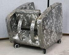 Handgefertigter Sessel aus Stahl, Rollbar, gefederte Rückenlehne, Künstlerarbeit