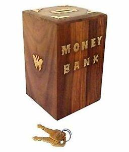 Wooden Piggy Bank, Money Bank, Gullak for Kids, Money Box Coin Bank with lock
