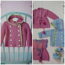 KNITTING PATTERN Baby Moss Stitch Outdoor/Pram Set Aran King Cole 3972