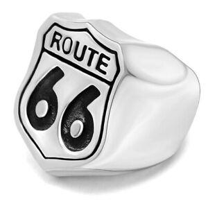 Schwerer Route 66 Bikerring aus 316L Edelstahl Motorradfahrer Ring silber massiv