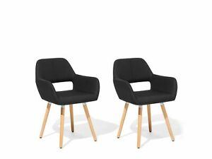 Retro Vintage Kitchen Dining Accent Chair Set Upholstered Fabric Black Chicago
